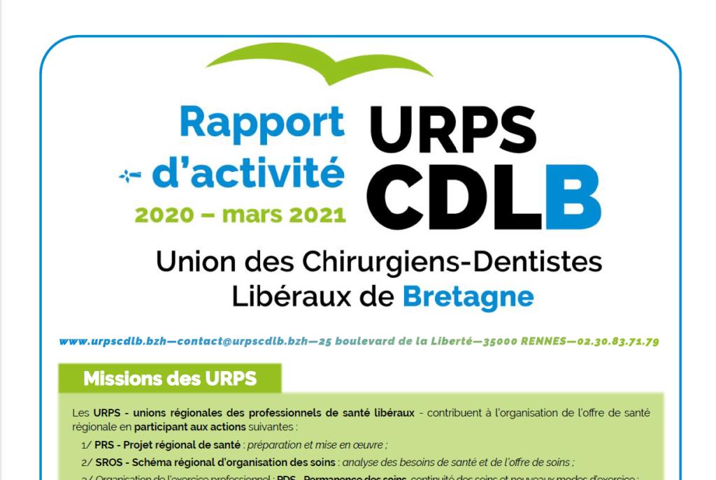 Image Rapport activité URPS CDLB 2020 pour site